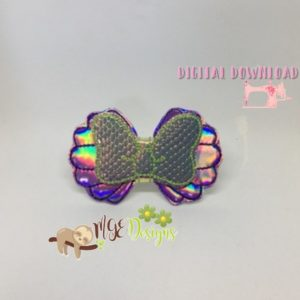 3D Mermaid Mouse Ear Bow Machine Embroidery Design Digital Download MGEDesigns