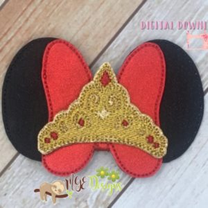 3D Beauty Mouse Ears Bow Machine Embroidery Design Digital Download MGEDesigns