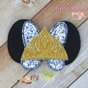 3D Frozen Mouse Ear Bow Machine Embroidery Design Digital Download MGEDesigns
