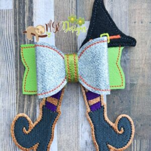 3D Witch Legs Bow Machine Embroidery Design Digital Download MGEDesigns