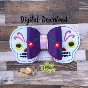 3D Sugar Skull Bow Machine Embroidery Design Digital Download MGEDesigns