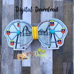 3D Ferris Wheel Bow Machine Embroidery Design Digital Download MGEDesigns