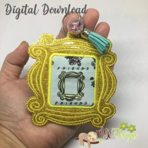 Picture Frame Hang Tag Key Fob Machine Embroidery Design Digital Download MGEDesigns
