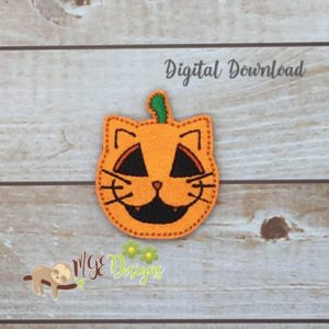 Cat Jack O Lantern Feltie Machine Embroidery Design Digital Download MGEDesigns