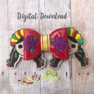 3D Traditional Hispanic Girl Bow Machine Embroidery Design Digital Download MGEDesigns