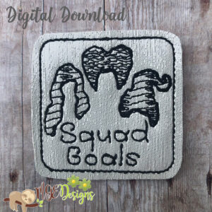 Squad Goals Sketch Feltie Machine Embroidery Design Digital Download MGEDesigns