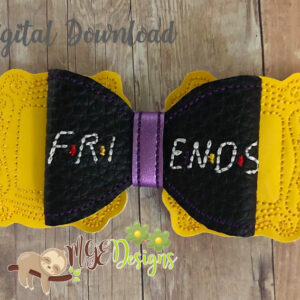 3D Friends Frame Bow Machine Embroidery Design Digital Download MGEDesigns