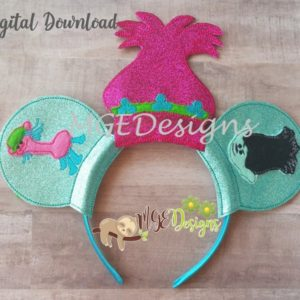 Princess Poppy Mouse Ear Headband Machine Embroidery Design Digital Download MGEDesigns
