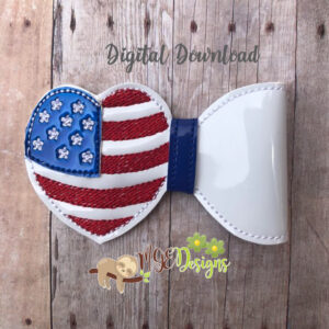 3D USA Heart Flag Half Bow Machine Embroidery Design Digital Download MGEDesigns