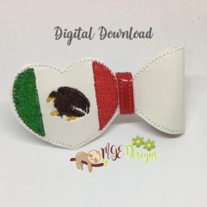 3D Mexico Heart Half Bow Machine Embroidery Design Digital Download MGEDesigns