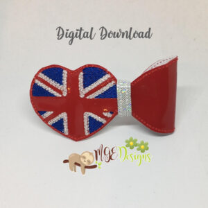 3D British Heart Flag Half Bow Machine Embroidery Design Digital Download MGEDesigns