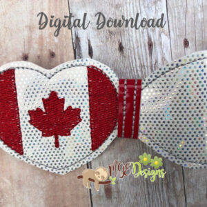 3D Canadian Heart Half Bow Machine Embroidery Design Digital Download MGEDesigns