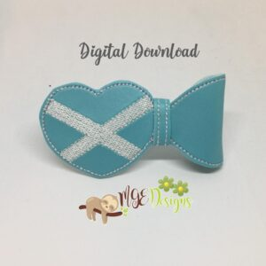3D Scottish Flag Half Bow Machine Embroidery Design Digital Download by MGEDesigns