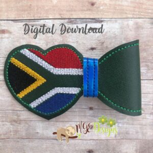 3D S African Flag Half Bow Machine Embroidery Design Digital Download by MGEDesigns