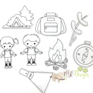 Camping Coloring Dolls Machine Embroidery Designs Digital Download by MGEDesigns