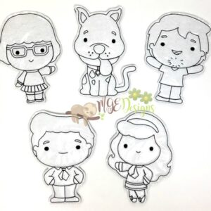 Mystery Crew Coloring Dolls Machine Embroidery Designs Digital Download by MGEDesigns