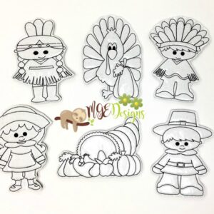 Thanksgiving Coloring Doll Set Machine Embroidery Design Digital Download by MGEDesigns