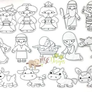 Nativity Coloring Doll Set Machine Embroidery Designs Digital Download by MGEDesigns