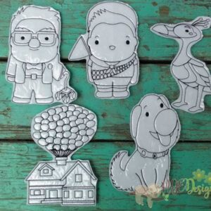 Up House Coloring Doll Set Machine Embroidery Designs Digital Download by MGEDesigns