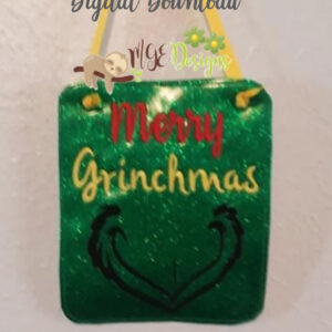 Merry Grinchmas Board Machine Embroidery Design Digital Download by MGEDesigns