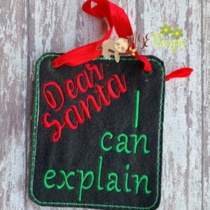 Dear Santa Board Machine Embroidery Design Digital Download by MGEDesigns