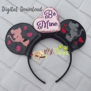 Be Mine Mouse Ear Headband Machine Embroidery Design Digital Download by MGEDesigns