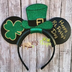 St Pattys Mouse Ear Headband Machine Embroidery Design Digital Download by MGEDesigns