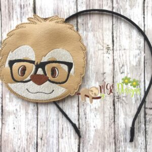 Nerdy Sloth Headband Planner Band Machine Embroidery Design Digital Download by MGEDesigns