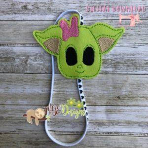 Girl Baby Yoda Headband Planner Band Machine Embroidery Design Digital Download by MGEDesigns