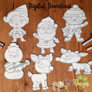 Rudolph Coloring Doll Set Machine Embroidery Design Digital Download by MGEDesigns