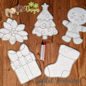Christmas Coloring Doll Set Machine Embroidery Design Digital Download by MGEDesigns
