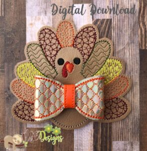 3D Turkey Bow Machine Embroidery Design Digital Download by MGEDesigns
