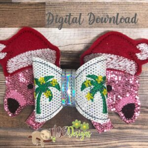 3D Santa Flamingo Hairbow Machine Embroidery Design Digital Download by MGEDesigns