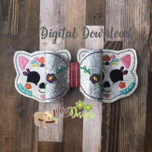 3D Sugar Skull Cat Hairbow Machine Embroidery Design Digital Download by MGEDesigns