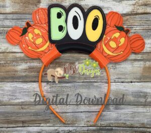 Scary Boo Pumpkin Mouse Ear Headband Machine Embroidery Design Digital Download by MGEDesigns