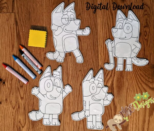 Bluey and Friends Coloring Dolls Machine Embroidery Design Digital Download by MGEDesigns