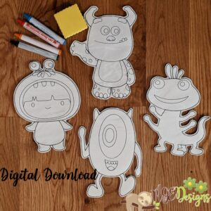 Cute Monsters Coloring Dolls Machine Embroidery Design Digital Download by MGEDesigns