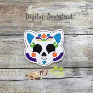 Day of the Dead Cat Feltie Machine Embroidery Design Digital Download by MGEDesigns