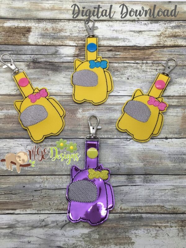 Among U Hairbow Key Fob Snap Tab Machine Embroidery Design Digital Download by MGEDesigns