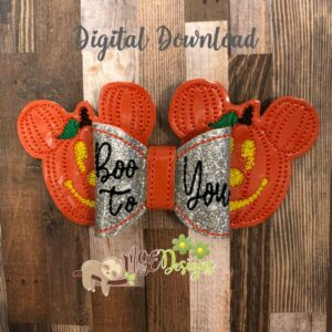 3D Pumpkin Mickey Hairbow Machine Embroidery Design Digital Download by MGEDesigns