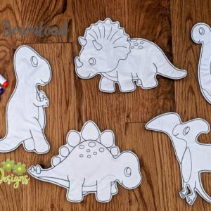 Dinosaurs Coloring Doll Set Machine Embroidery Design Digital Download by MGEDesigns