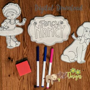 Nancy Coloring Doll Set Machine Embroidery Design Digital Download by MGEDesigns