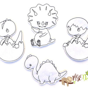 Baby Dinosaurs Coloring Dolls Machine Embroidery Design Digital Download by MGEDesigns