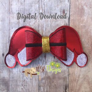 3D Santa Hat Bow Machine Embroidery Design Digital Download by MGEDesigns