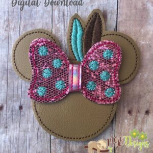 3D Minnie Indian Bow Machine Embroidery Design Digital Download by MGEDesigns