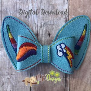 3D Rainbow Pony Bow Machine Embroidery Design Digital Download by MGEDesigns