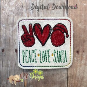 Peace Love Santa Feltie Machine Embroidery Design Digital Download by MGEDesigns