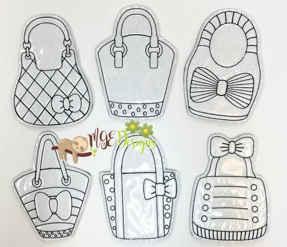 Handbag Coloring Doll Set Machine Embroidery Designs Digital Download by MGEDesigns