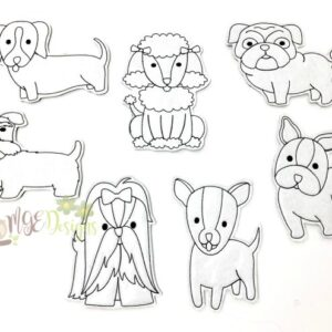 Dog Breeds Coloring Dolls Machine Embroidery Designs Digital Download by MGEDesigns