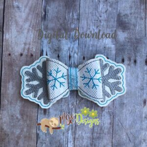 3D Snow Flake Bow Machine Embroidery Design Digital Download by MGEDesigns